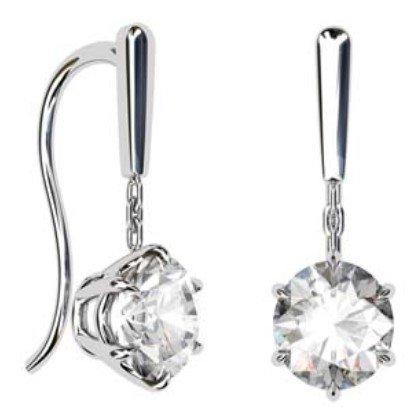1.5Ct Round Brilliant Cut Solitaire Diamond Drop Earrings 1 1 2