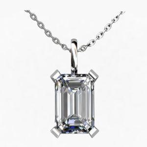 2Ct Emerald Cut Diamond Pendant 1 1