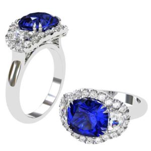 3 Carat Cushion Cut Sapphire Three Stone Halo Engagement Ring 1 2
