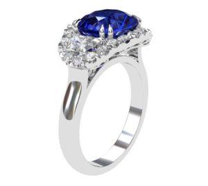 3 Carat Cushion Cut Sapphire Three Stone Halo Engagement Ring 4 2