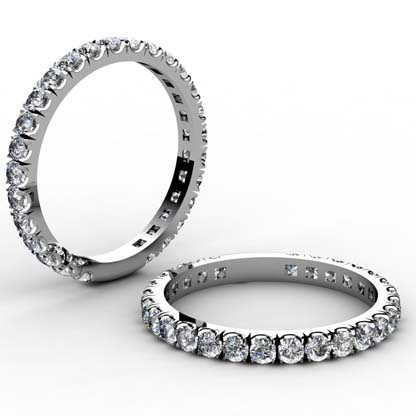 3 quarters set cut down diamond set wedding ring 1