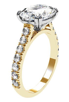3Ct Oval Diamond Ring Set in Yellow Gold 4 2