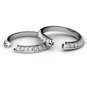 Angled Diamond Fitted Wedding Ring 1