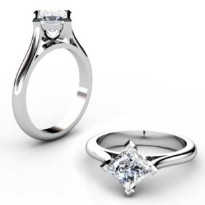 Angled Princess Cut Diamond Solitaire Engagement Ring 1 2