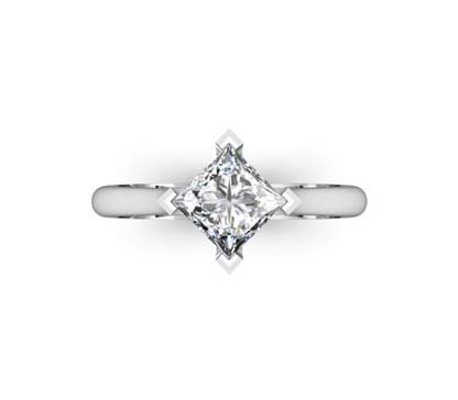 Angled Princess Cut Diamond Solitaire Engagement Ring 2 2
