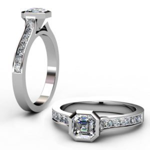 Asscher Cut Bezel Set Diamond Engagement Ring with Channel Set Diamond Band 1 2