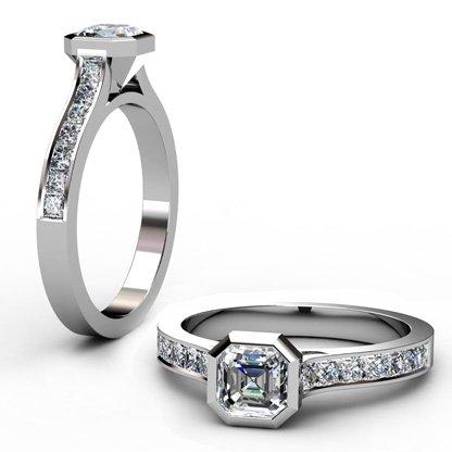 Asscher Cut Bezel Set Diamond Engagement Ring with Channel Set Diamond Band 1 2