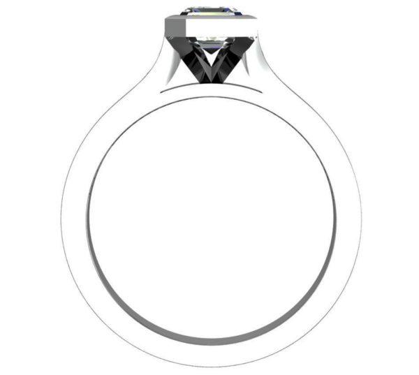 Asscher Cut Bezel Set Diamond Engagement Ring with Channel Set Diamond Band 3 2