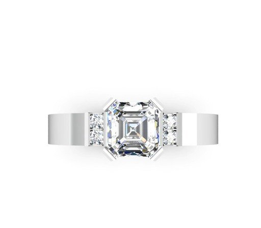 Asscher Cut Diamond Engagement Ring with Flat Metal Band 2 2