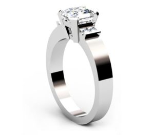 Asscher Cut Diamond Engagement Ring with Flat Metal Band 4 2