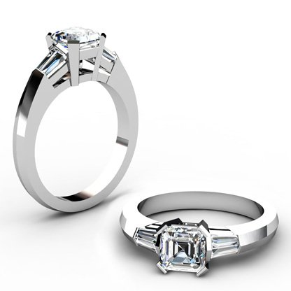 Asscher Cut Diamond Engagement Ring with Knife s Edge Band 1