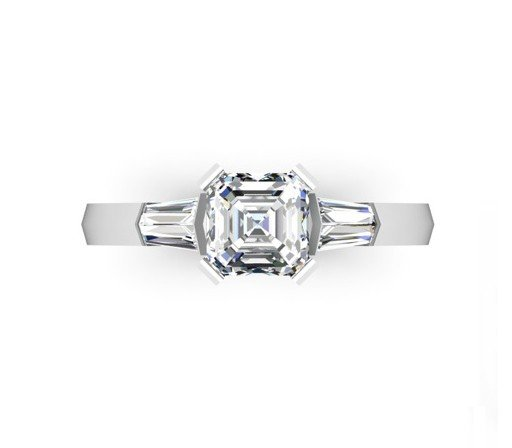Asscher Cut Diamond Engagement Ring with Knife s Edge Band 31