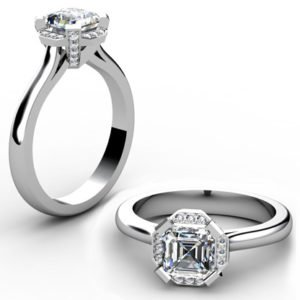 Asscher Cut Diamond Halo Engagement Ring 1 2