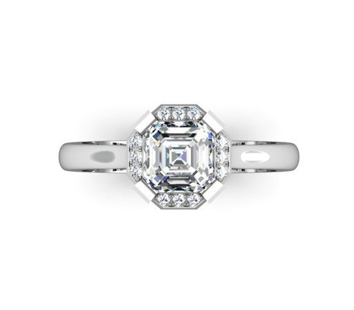 Asscher Cut Diamond Halo Engagement Ring 2 2