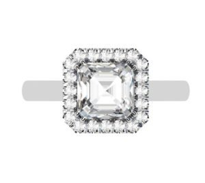 Asscher Cut Diamond Halo Engagement Ring with Diamond Accented Basket 2 2