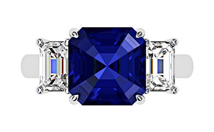 Asscher Cut Sapphire and Diamond Three Stone Engagement Ring 2 1