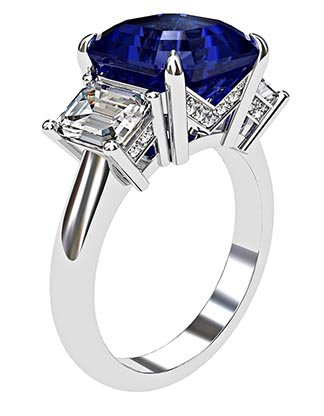 Asscher Cut Sapphire and Diamond Three Stone Engagement Ring 4 1