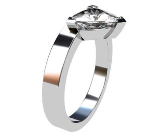 Assymetrical Pear Cut Diamond Engagement Ring with Flat Band 4 2