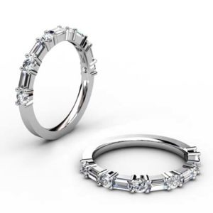 Baguette and Round Diamond Wedding Band 1