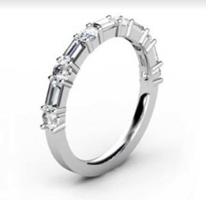Baguette and Round Diamond Wedding Band 2