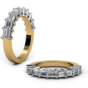 Baguette claw set diamond wedding ring 1