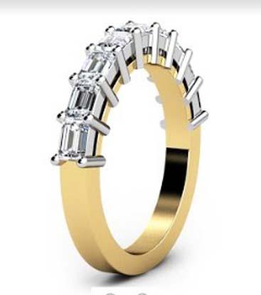 Baguette claw set diamond wedding ring 4