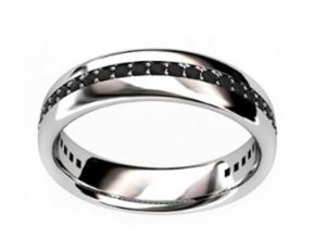 Bead set mens black diamond wedding ring 3