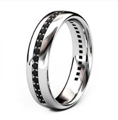 Bead set mens black diamond wedding ring 4