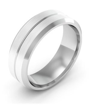 Bezel Edged with Groove Mens Wedding Ring 3 2