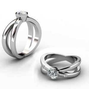 Bezel Set Diamond Engagement Ring with Cross Over Band 1 2