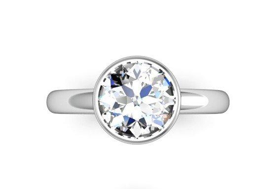 Bezel Set Solitaire Diamond Engagement Ring 2 2
