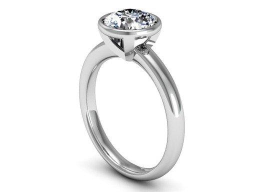 Bezel Set Solitaire Diamond Engagement Ring 4 2