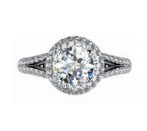 Brilliant Cut Diamond Micro Pave Set Halo Engagement Ring 2 2