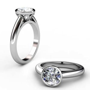 Brilliant Cut Diamond Petal Bezel Set Engagement Ring with Filigree Detailing 1 2