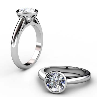 Brilliant Cut Diamond Petal Bezel Set Engagement Ring with Filigree Detailing 1 2