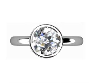 Brilliant Cut Diamond Petal Bezel Set Engagement Ring with Filigree Detailing 2 2