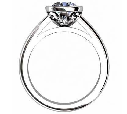 Brilliant Cut Diamond Petal Bezel Set Engagement Ring with Filigree Detailing 3 2