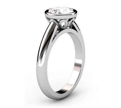 Brilliant Cut Diamond Petal Bezel Set Engagement Ring with Filigree Detailing 4 2