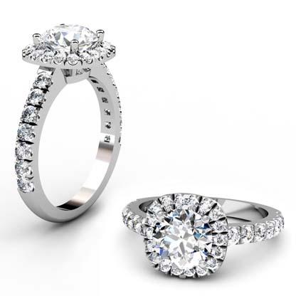 Brilliant Cut Diamond Square Halo Engagement Ring 1 2
