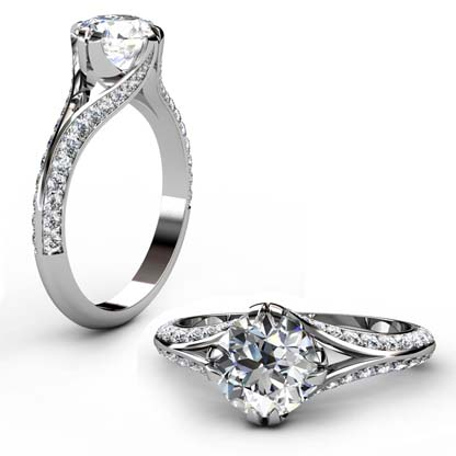 Brilliant Cut Round Diamond Engagement Ring with Split Shank 1 2