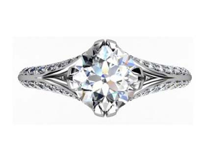 Brilliant Cut Round Diamond Engagement Ring with Split Shank 2 2