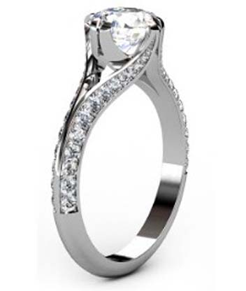 Brilliant Cut Round Diamond Engagement Ring with Split Shank 4 2