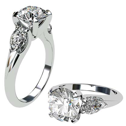 Brilliant Cut Round Diamond Three Stone Engagement Ring 1 2