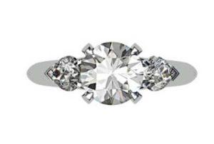 Brilliant Cut Round Diamond Three Stone Engagement Ring 2 2