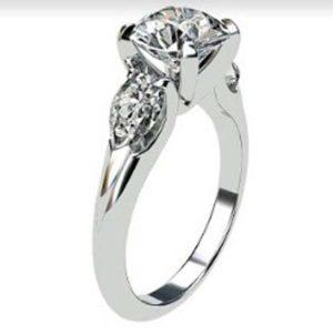 Brilliant Cut Round Diamond Three Stone Engagement Ring 4 2