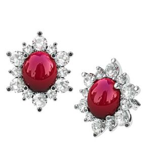 Cabochon Ruby with Diamond Petal Earrings 1 2