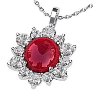 Cabochon Ruby with Diamond Petal Pendant 1 2