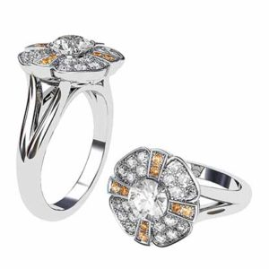 Champagne Diamond Cross and Flower Diamond Cluster 1 2