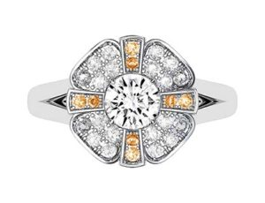 Champagne Diamond Cross and Flower Diamond Cluster 2 2