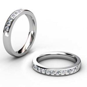 Channel Set Diamond Half Wedding Band 1